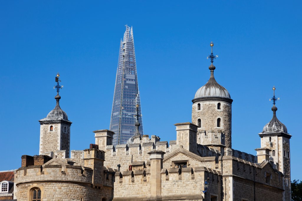 Stock Photo: 442-38226 UK, London, Tower of London and The Shard