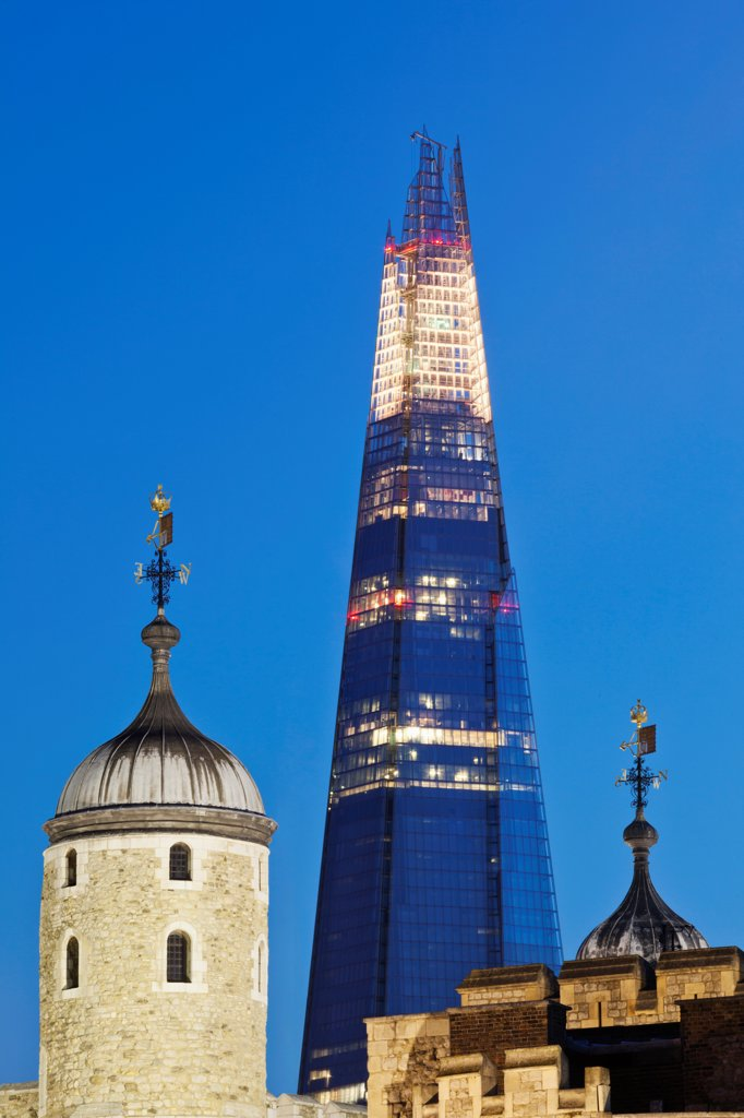 UK, London, Tower of London and The Shard : Stock Photo