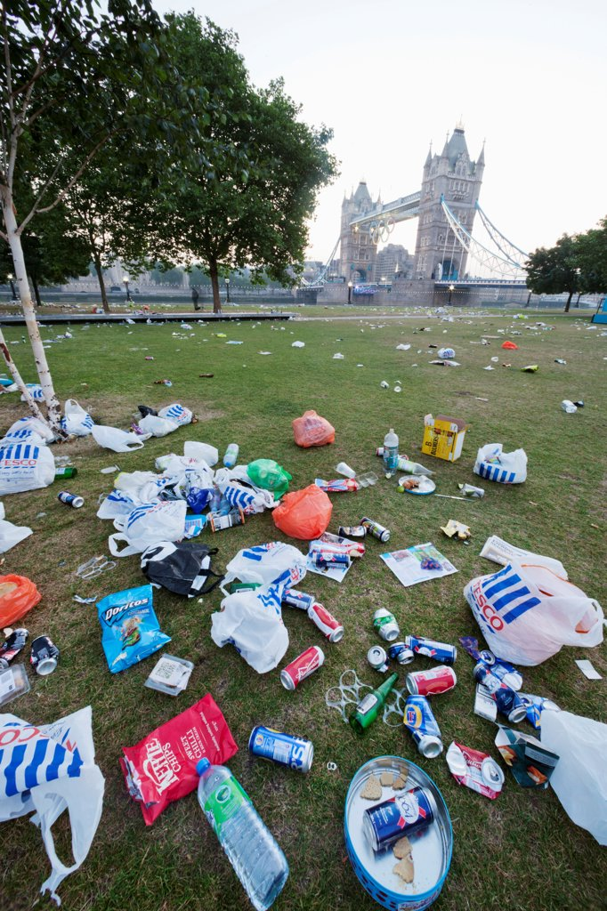 Stock Photo: 442-38235 UK, London, Southwark, Potters Field, Rubbish on lawn