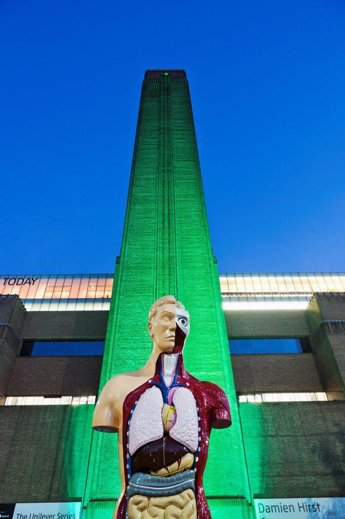 "UK, London, Bankside, Tate Modern, Sculpture titled """"Hymn"""" by Damien Hurst : Stock Photo"