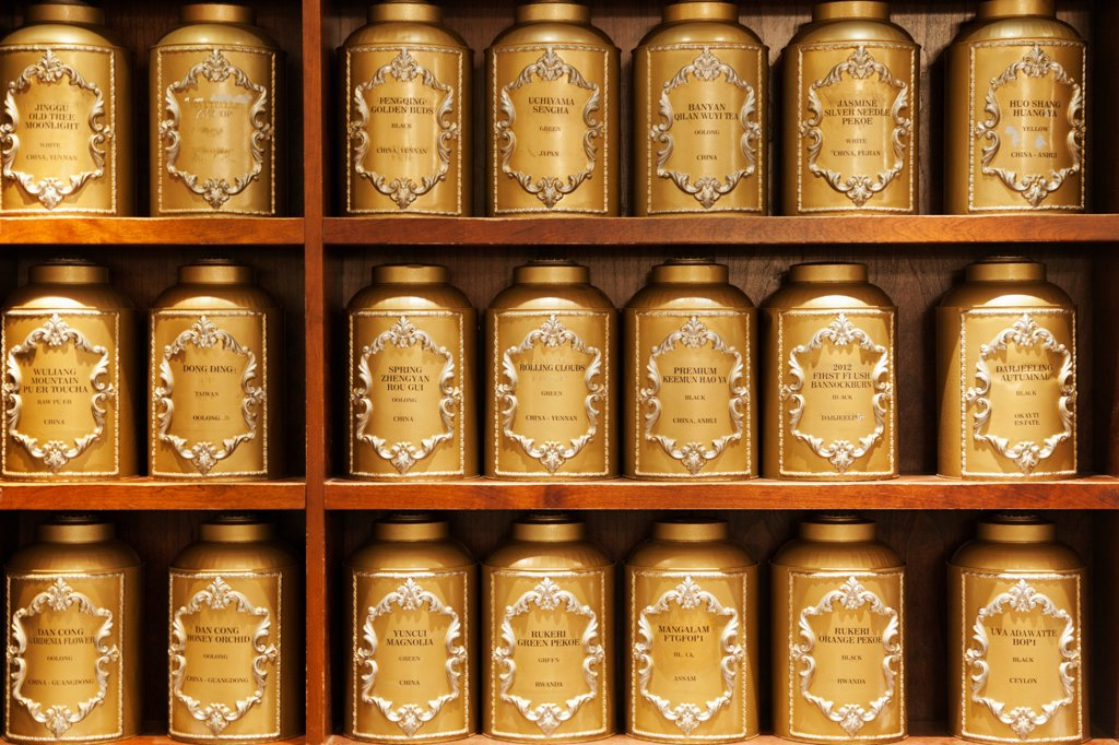 Stock Photo: 442-38260 UK, London, Piccadilly, Display of tea boxes