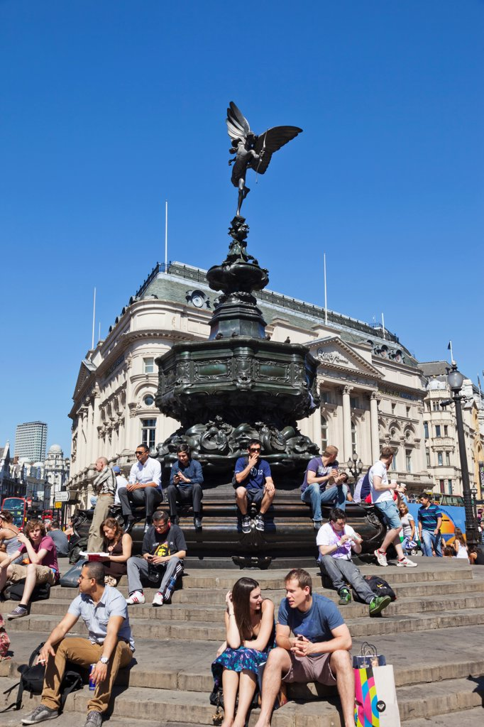 UK, London, Piccadilly, Piccadilly Circus, Eros Statue : Stock Photo