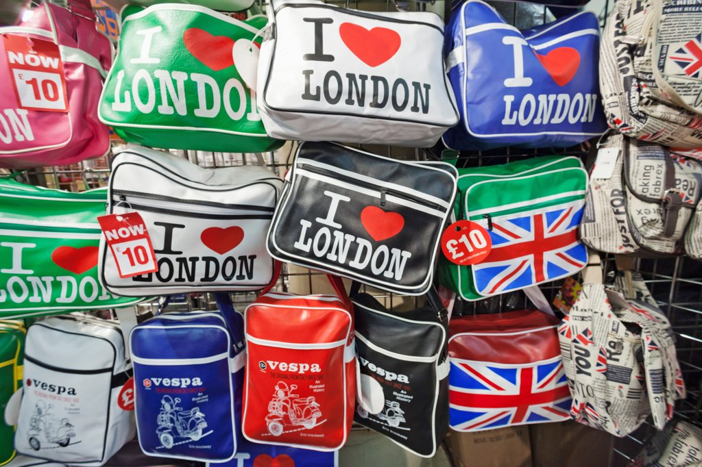 Stock Photo: 442-38265 UK, London, Covent Garden, Souvenir bags for sale