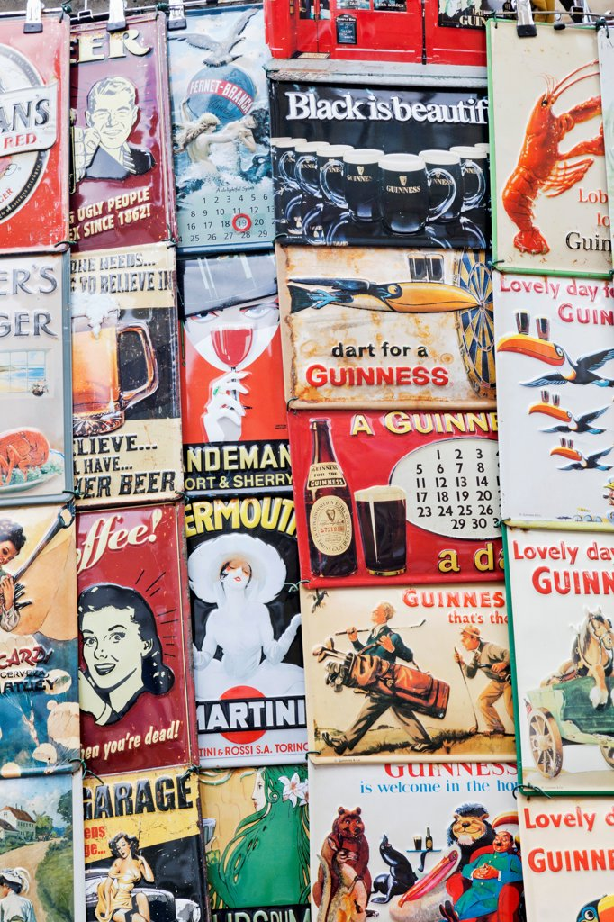 Stock Photo: 442-38272 UK, London, Nottinghill, Portobello Road, Vintage Advertising Posters and Signs