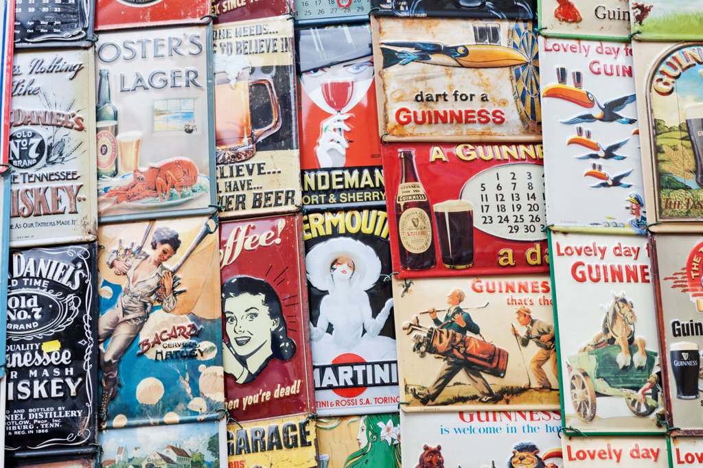 Stock Photo: 442-38274 UK, London, Nottinghill, Portobello Road, Vintage Advertising Posters and Signs