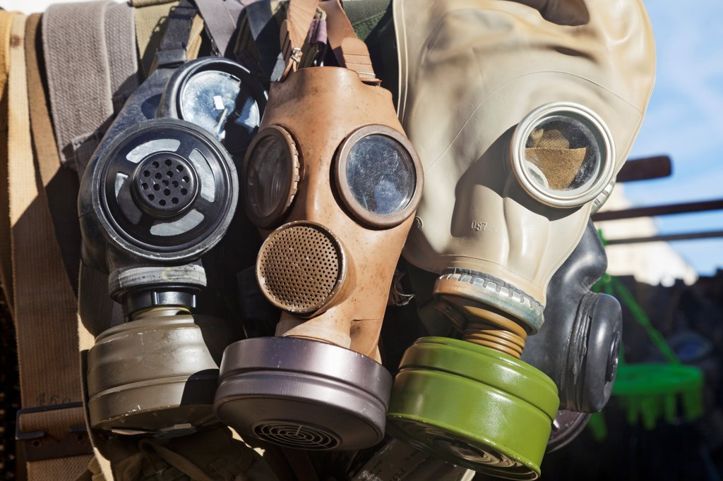 Stock Photo: 442-38276 UK, London, Nottinghill, Portobello Road, Antique Gas Masks