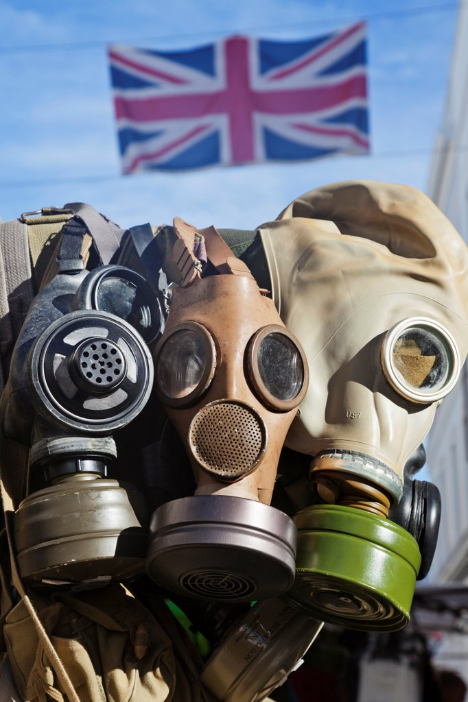 Stock Photo: 442-38277 UK, London, Nottinghill, Portobello Road, Antique Gas Masks