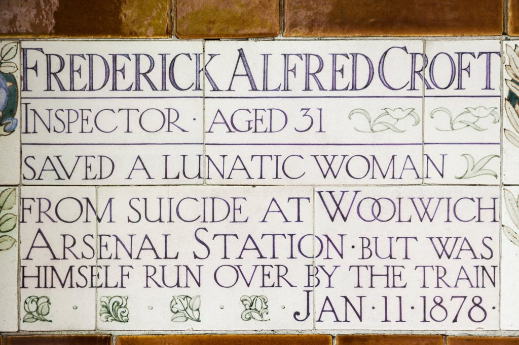 Stock Photo: 442-38280 UK, London, City of London, Postmans Park, Memorial Plaques to Heroic Self Sacrifice