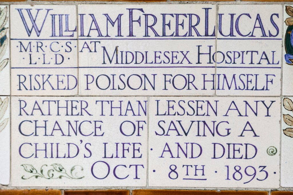 Stock Photo: 442-38281 UK, London, City of London, Postmans Park, Memorial Plaques to Heroic Self Sacrifice