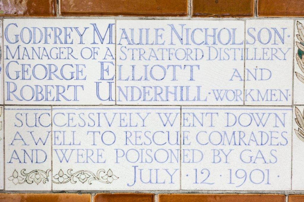 Stock Photo: 442-38283 UK, London, City of London, Postmans Park, Memorial Plaques to Heroic Self Sacrifice