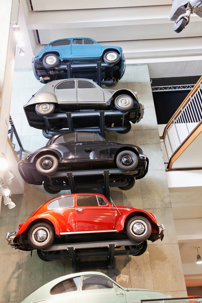 Stock Photo: 442-38300 UK, London, Kensington, Science Museum, Display of Vintage Continental Cars