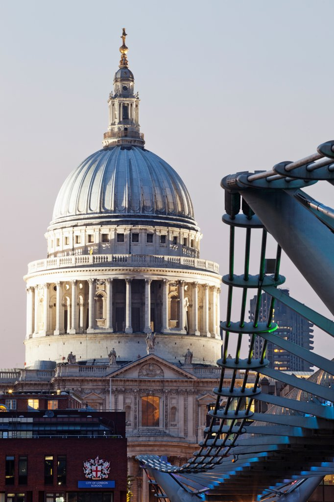 UK, London, The City, St Paul's Cathedral and Millenium Bridge : Stock Photo