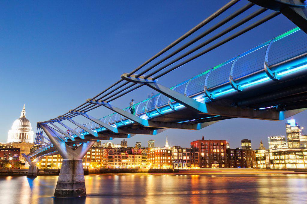 UK, London, The City, Millenium Bridge and City Skyline : Stock Photo
