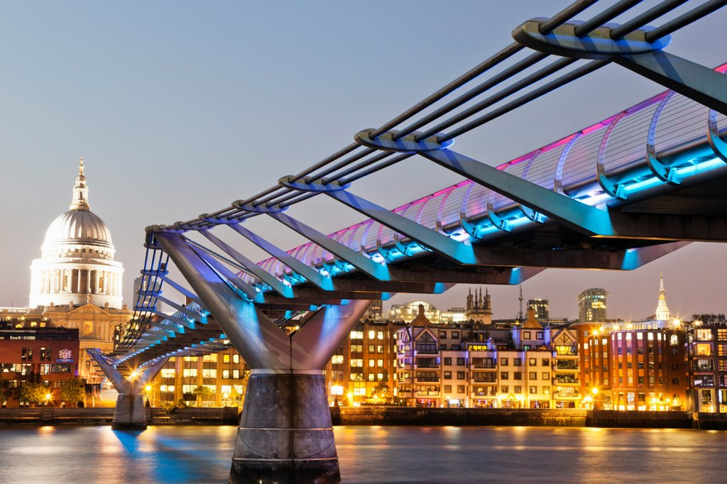 Stock Photo: 442-38321 UK, London, The City, Millenium Bridge and City Skyline