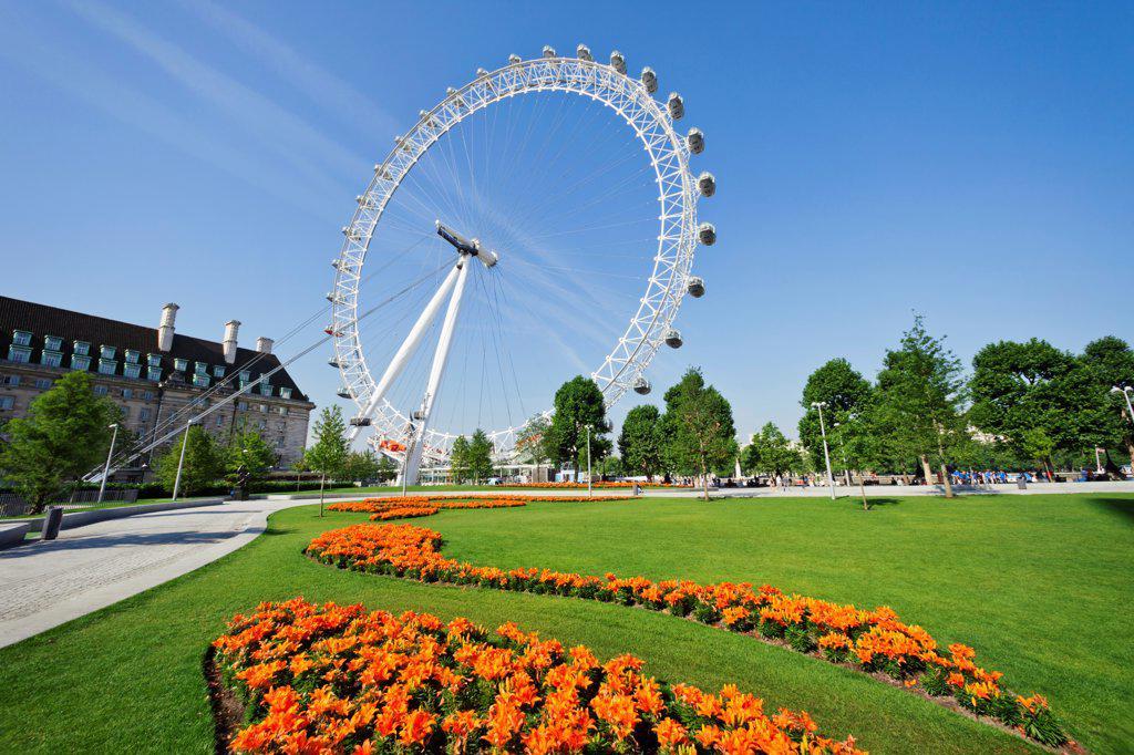 Stock Photo: 442-38328 UK, London, Jubilee Gardens, London Eye