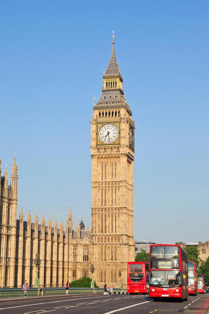 Stock Photo: 442-38333 UK, London, Westminster, Big Ben and Westminster Bridge