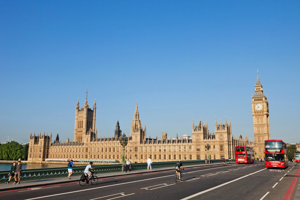 UK, London, Westminster, Big Ben and Westminster Bridge : Stock Photo