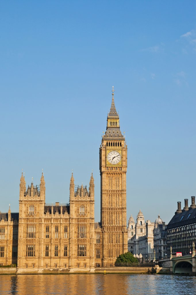 Stock Photo: 442-38340 UK, London, Westminster, Big Ben and Houses of Parliament