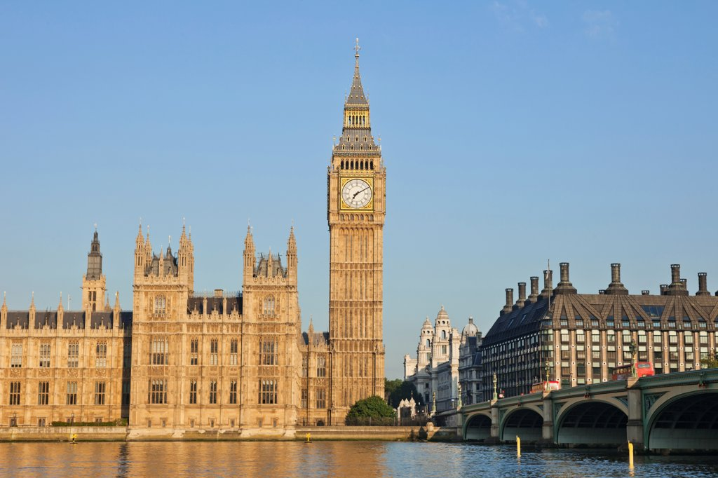 Stock Photo: 442-38341 UK, London, Westminster, Big Ben and Houses of Parliament
