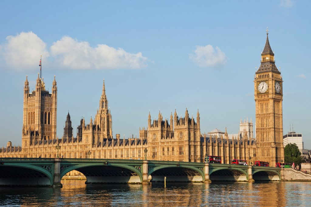UK, London, Westminster, Big Ben and Houses of Parliament : Stock Photo