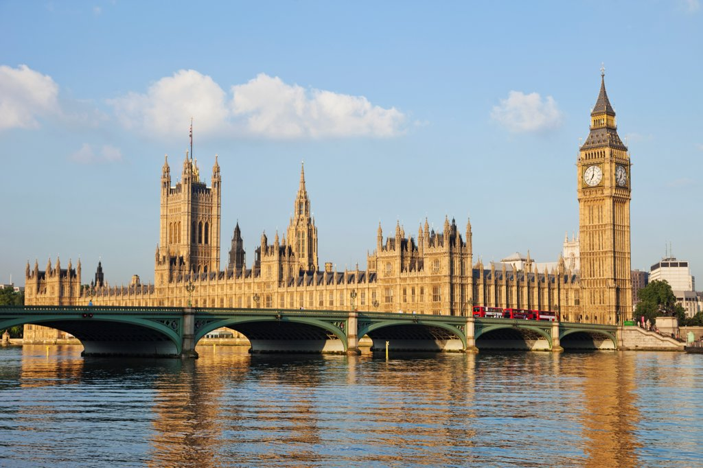 Stock Photo: 442-38343 UK, London, Westminster, Big Ben and Houses of Parliament