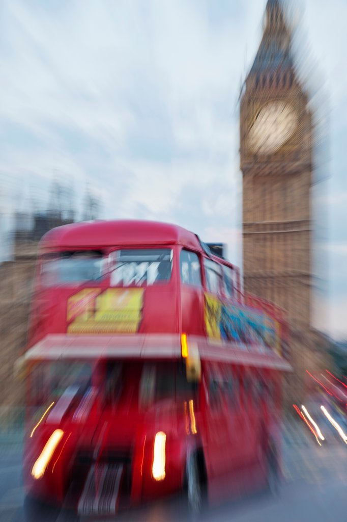 Stock Photo: 442-38344 UK, London, Westminster, Red Double Decker Bus and Big Ben