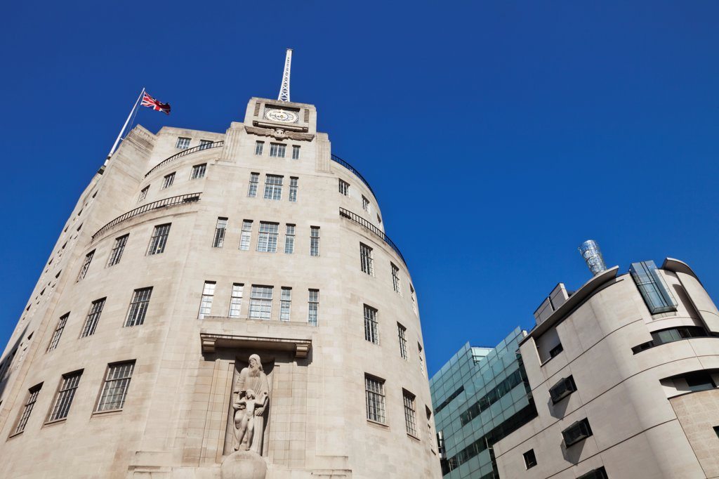 Stock Photo: 442-38347 UK, London, Portland Place, Broadcasting House