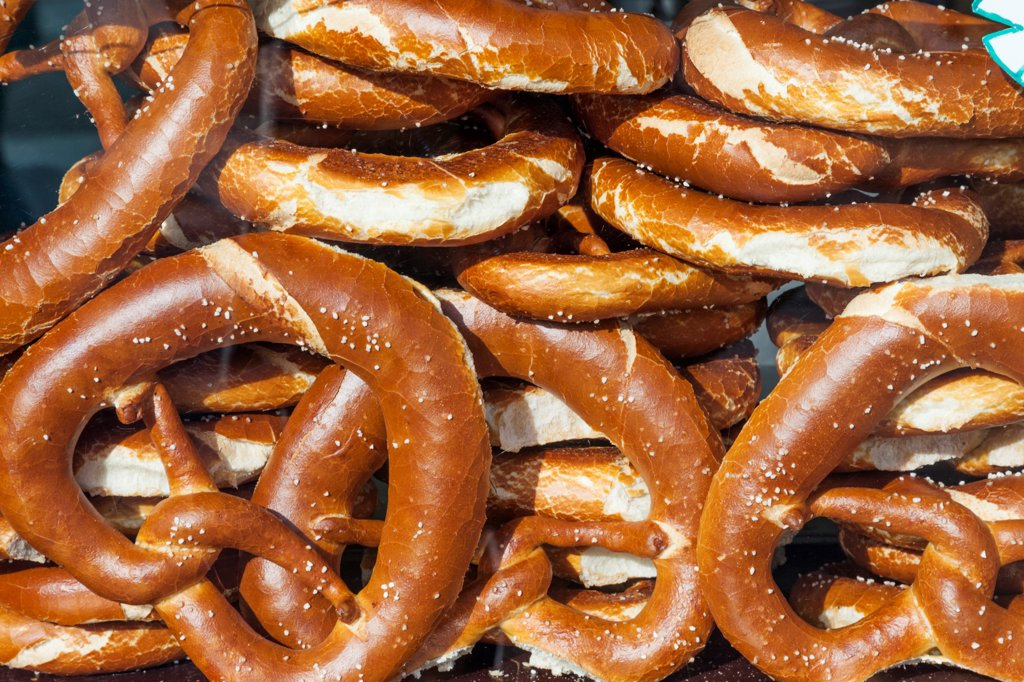 Oktoberfest pretzels, Munich, Bavaria, Germany : Stock Photo