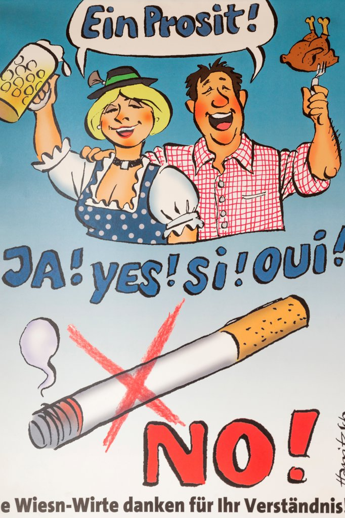 Stock Photo: 442-38414 No Smoking Sign, Oktoberfest, Munich, Bavaria, Germany