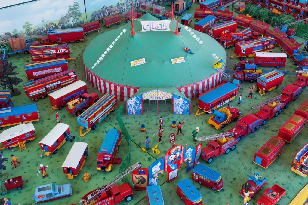 Stock Photo: 442-38626 UK, England, Dorset, Blanford, The Great Dorset Steam Fair, Exhibitors Display of Model Circus Set