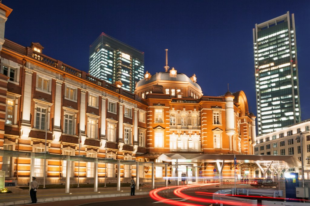 Japan, Honshu, Kanto, Tokyo, Tokyo Station, Night View : Stock Photo