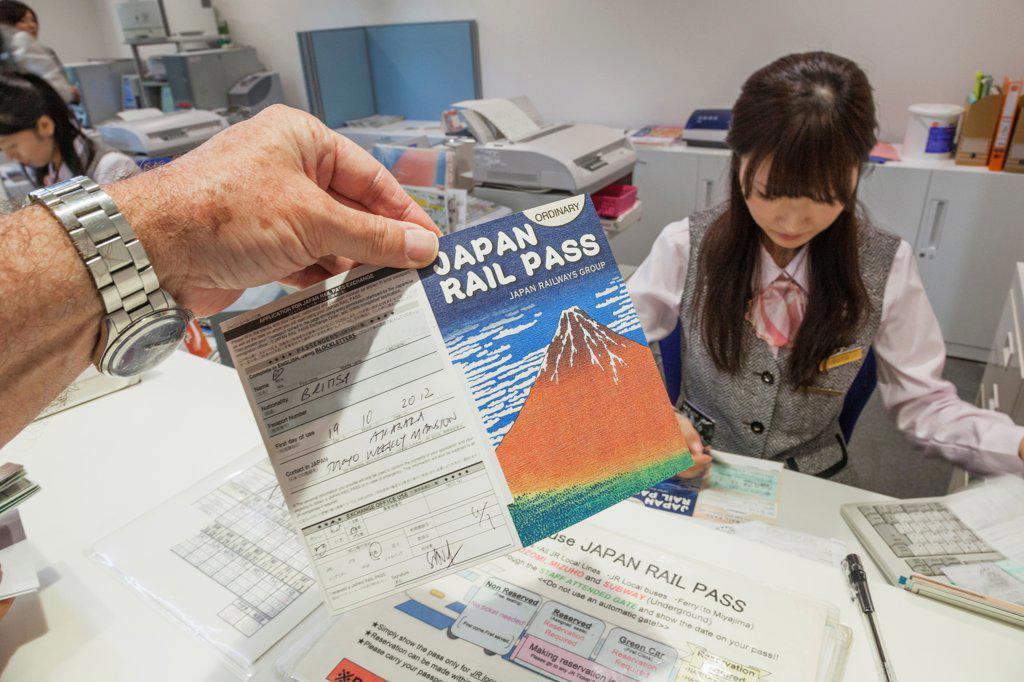 Stock Photo: 442-38657 Japan, Honshu, Kanto, Tokyo, Japan Rail Pass Issuing Office