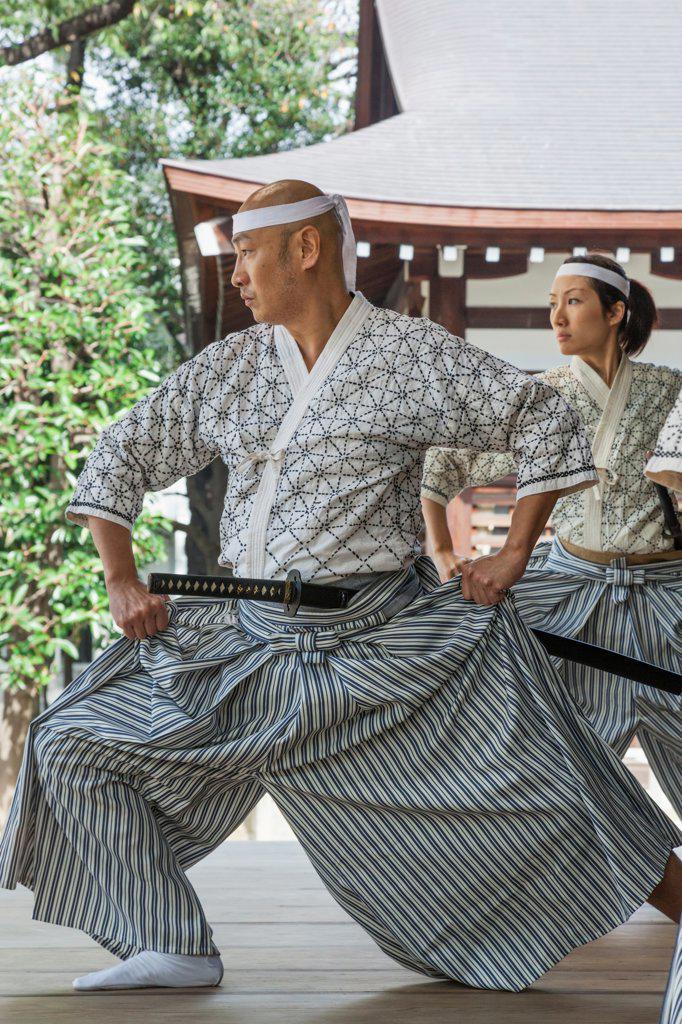 Stock Photo: 442-38665 Japan, Honshu, Kanto, Tokyo, Yasukuni Shrine, Martial Arts Swordsmanship Show