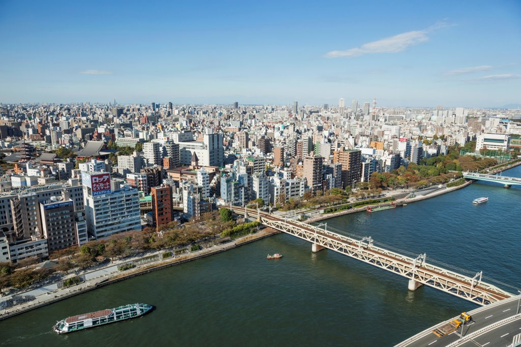 Japan, Honshu, Kanto, Tokyo, Asakusa Area Skyline : Stock Photo