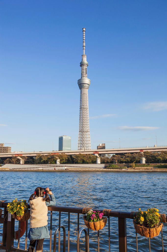 Stock Photo: 442-38686 Japan, Honshu, Kanto, Tokyo, Asakusa, Skytree Tower And Sumidagawa River