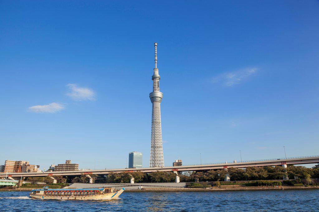 Japan, Honshu, Kanto, Tokyo, Asakusa, Skytree Tower And Sumidagawa River : Stock Photo