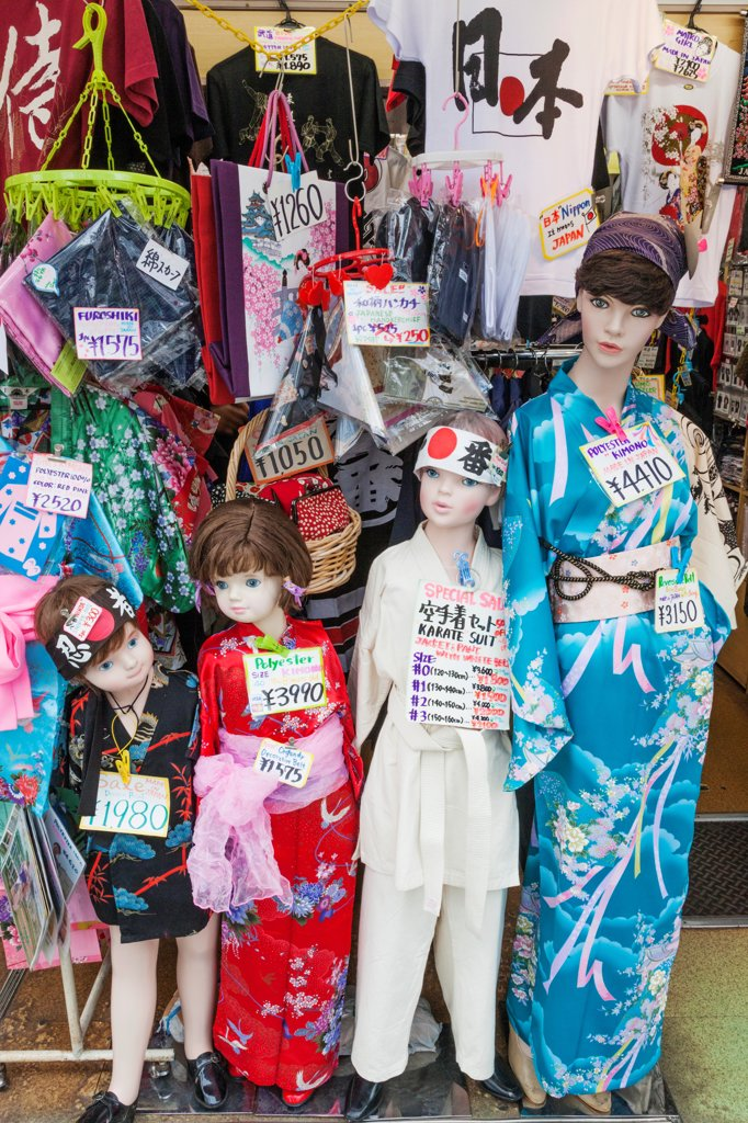 Stock Photo: 442-38714 Japan, Honshu, Kanto, Tokyo, Asakusa, Nakamise Shopping Street, Clothing Display For Western Toursists