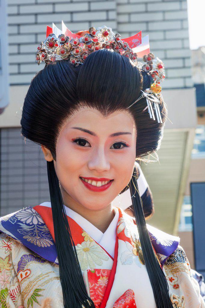 Stock Photo: 442-38719 Japan, Honshu, Kanto, Tokyo, Asakusa, Jidai Matsurai Festival, Female Participant Dressed In Kimono