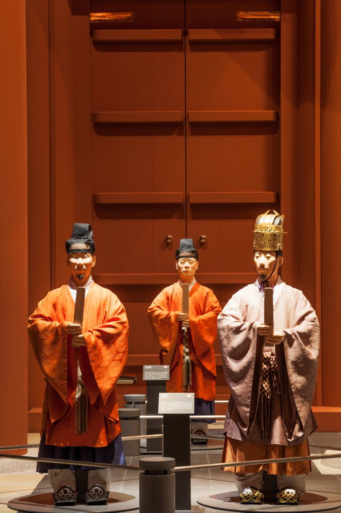 Stock Photo: 442-38733 Japan, Honshu, Kansai, Osaka, Osaka Museum of History, Display Of Historical Figures Dressed In Historical Costume