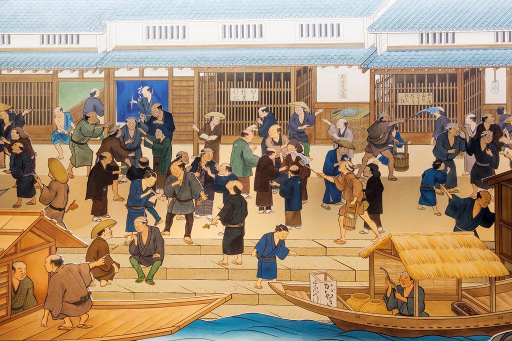 Japan, Honshu, Kansai, Osaka, Osaka Museum of History, Exhibit Of Life In Historical Osaka : Stock Photo