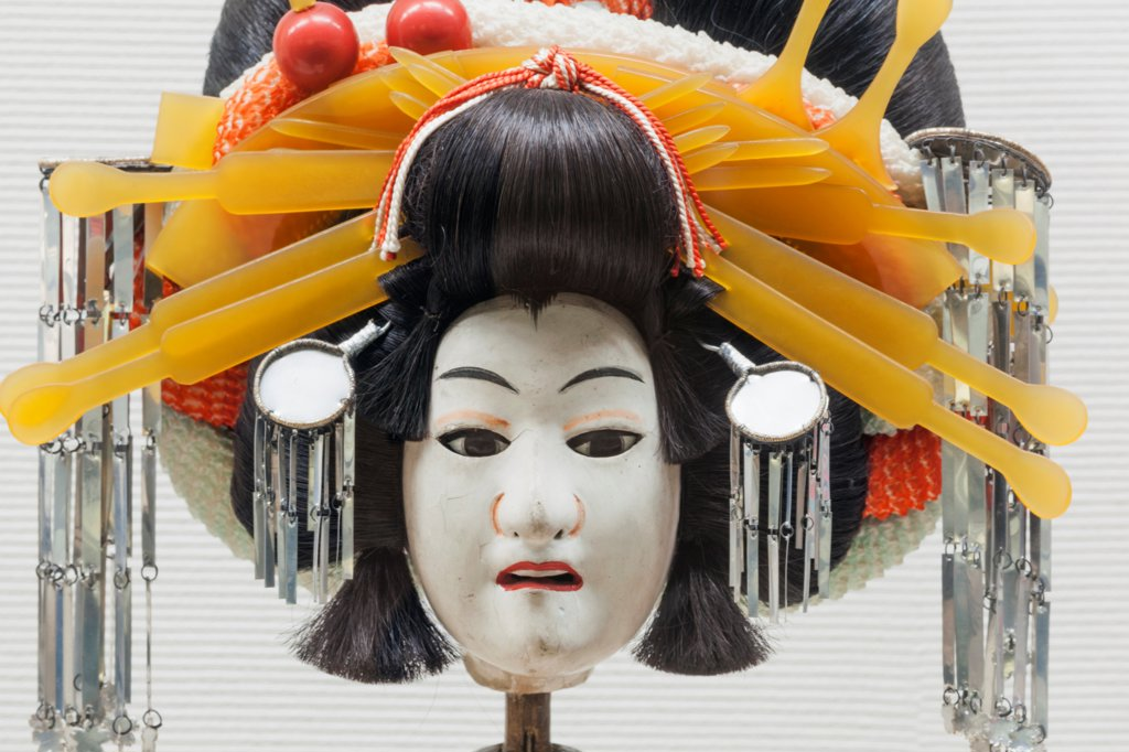 Stock Photo: 442-38737 Japan, Honshu, Kansai, Osaka, Osaka Museum of History, Exhibit Of Historical Bunraku Puppet Mask