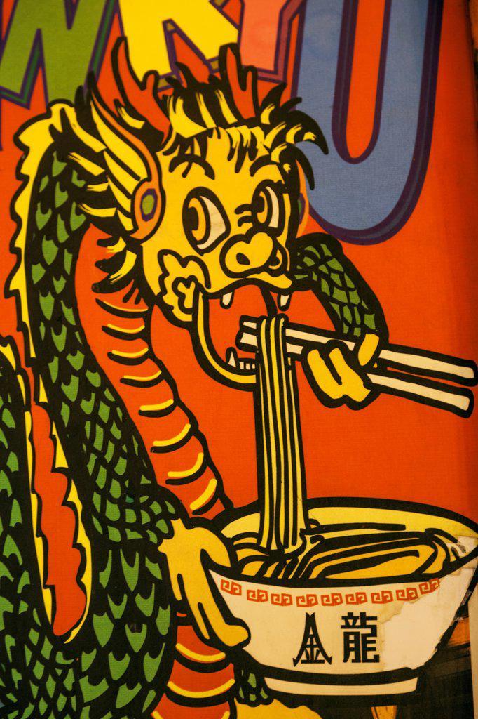 Stock Photo: 442-38749 Japan, Honshu, Kansai, Osaka, Namba, Dotombori Street, Restaurant Advertising Poster Depicting Dragon Eating Noodles