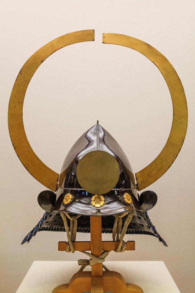 Japan, Honshu, Aichi, Nagoya, Nagoya Castle, Traditional Warriors' Helmet : Stock Photo