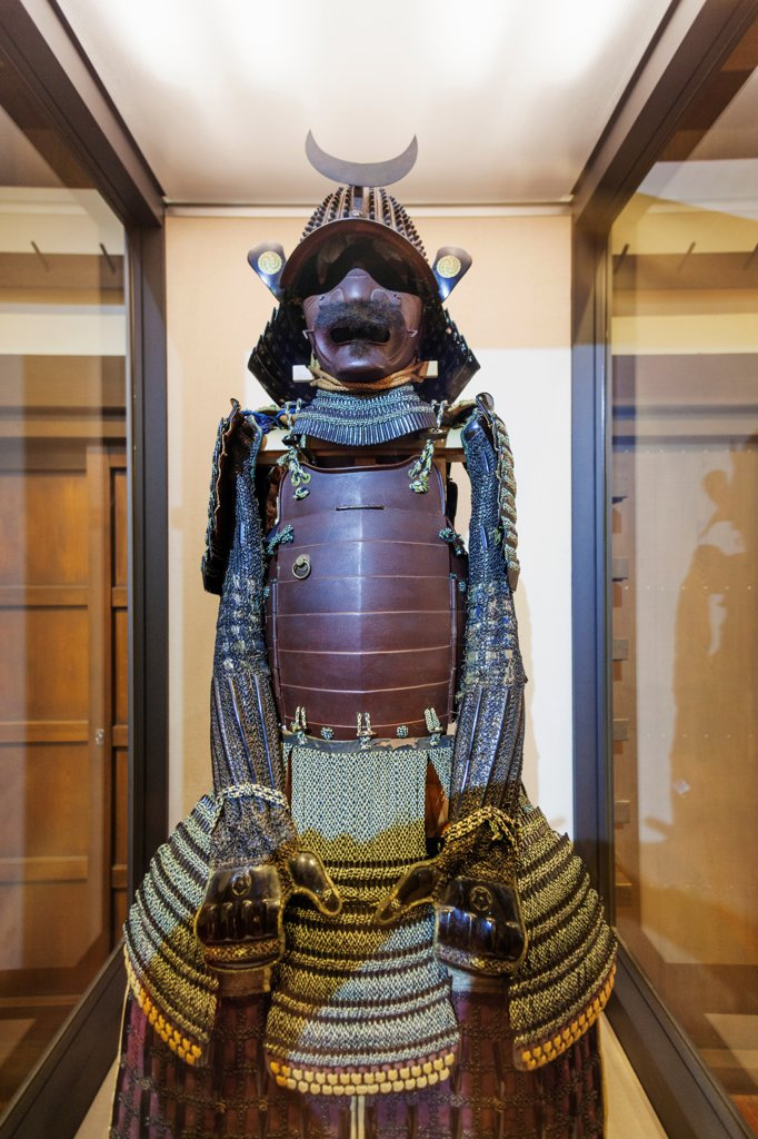Stock Photo: 442-38823 Japan, Honshu, Aichi, Nagoya, Nagoya Castle, Traditional Warriors' Suit of Armour