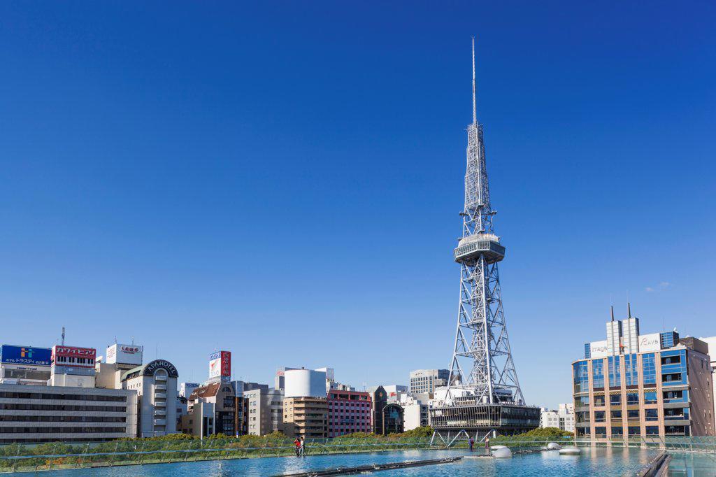 Japan, Honshu, Aichi, Nagoya, Nagoya Skyline with TV Tower : Stock Photo