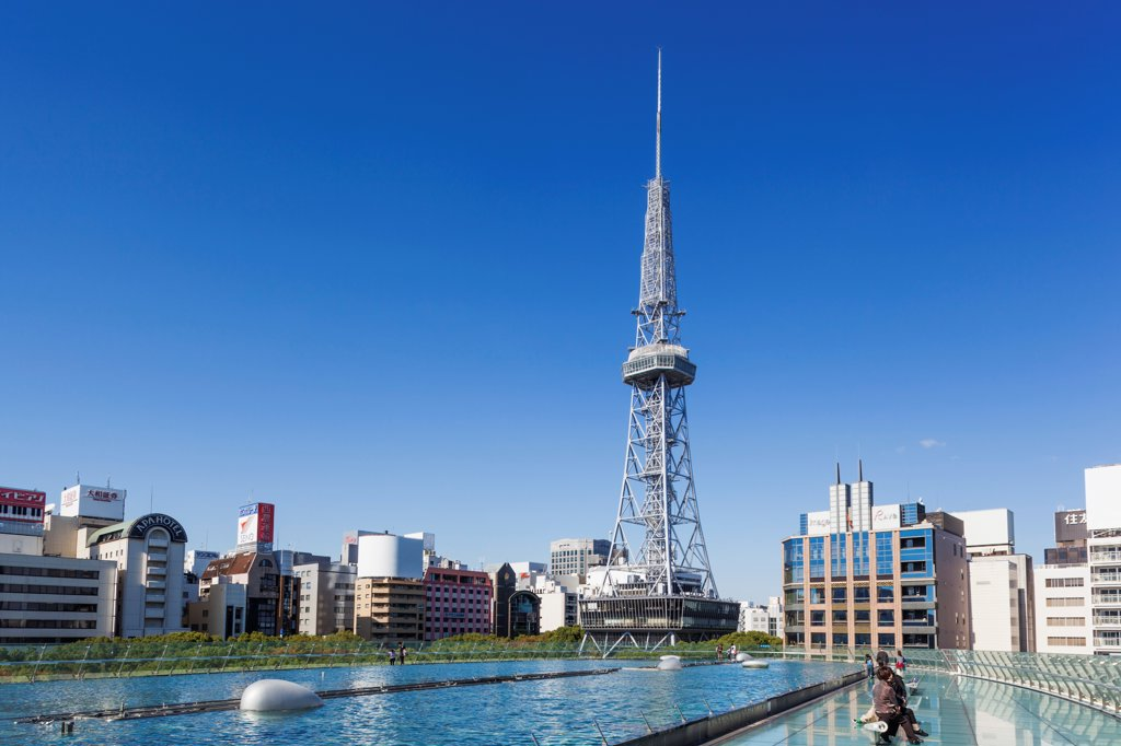 Stock Photo: 442-38860 Japan, Honshu, Aichi, Nagoya, Nagoya TV Tower and Oasis 21 Building