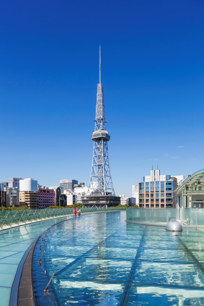 Stock Photo: 442-38861 Japan, Honshu, Aichi, Nagoya, Nagoya TV Tower and Oasis 21 Building