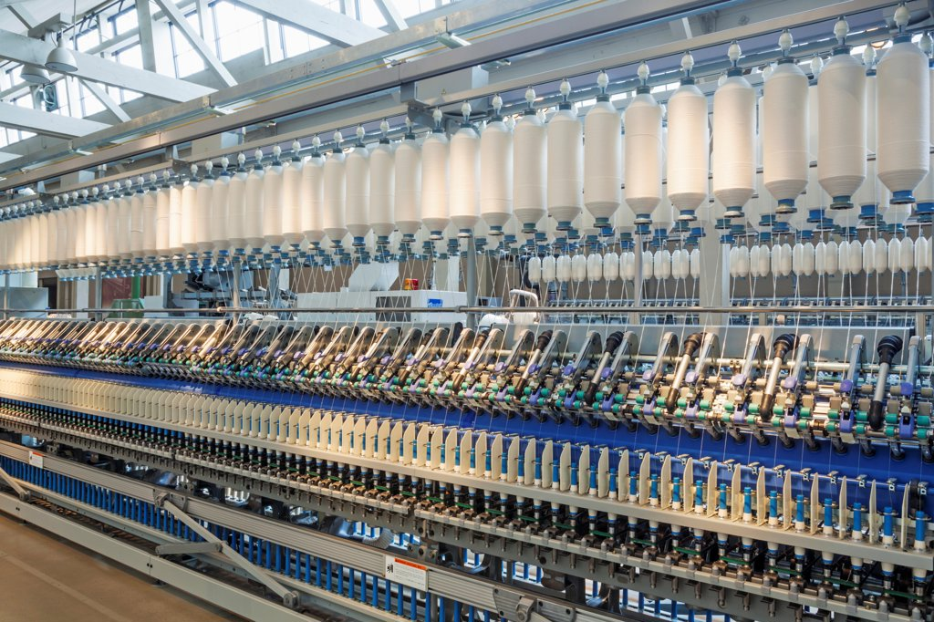 Japan, Honshu, Aichi, Nagoya, Toyota Commemorative Museum of Industry and Technology, Textile Machinery Pavilion, Roving Changer Spinning Machine : Stock Photo