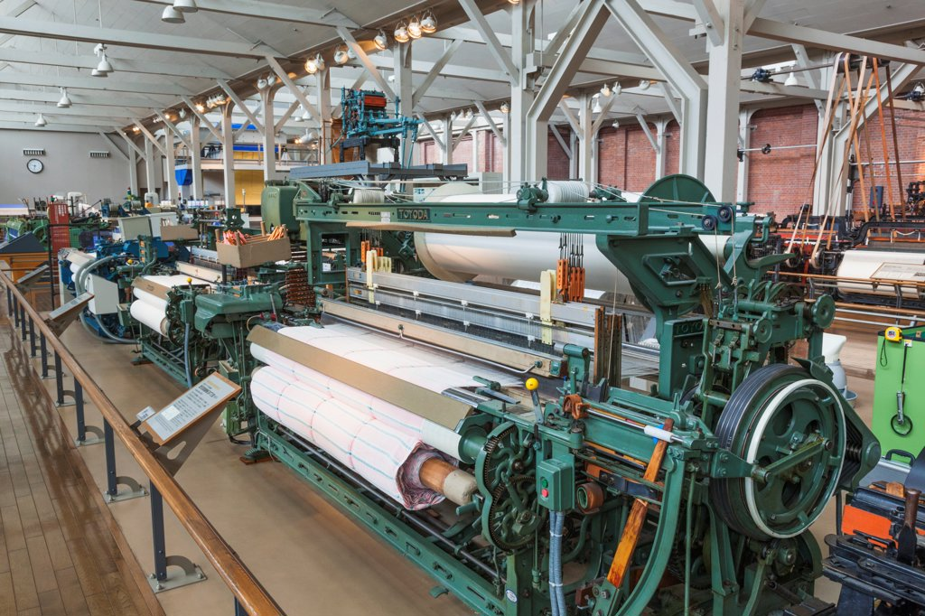 Japan, Honshu, Aichi, Nagoya, Toyota Commemorative Museum of Industry and Technology, Textile Machinery Pavilion, Vintage Toyoda Spinning Machines : Stock Photo