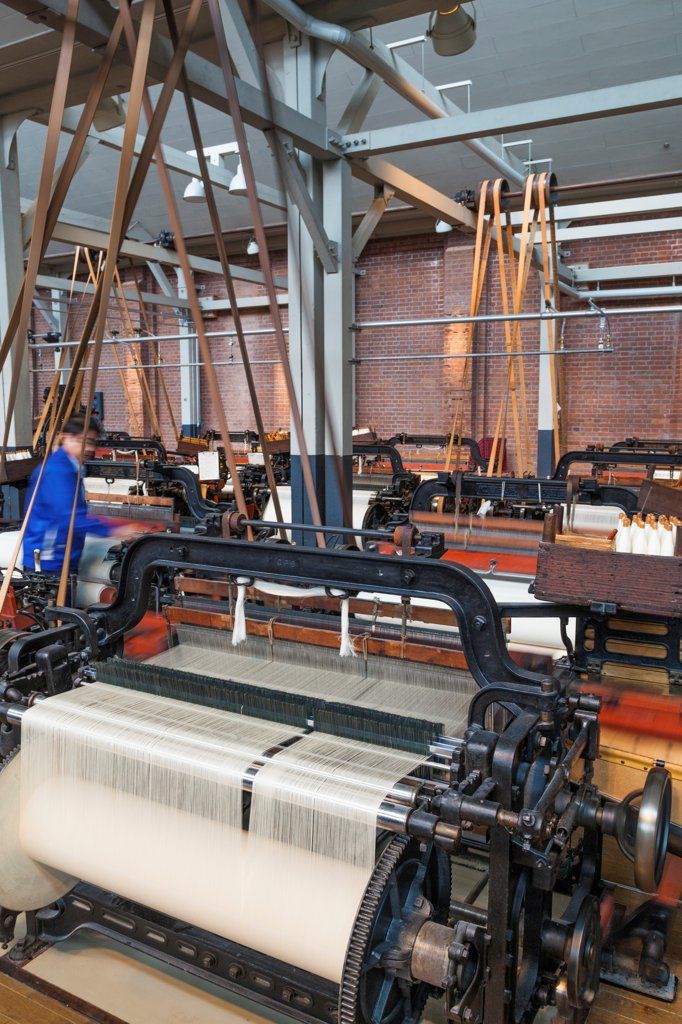 Stock Photo: 442-38874 Japan, Honshu, Aichi, Nagoya, Toyota Commemorative Museum of Industry and Technology, Textile Machinery Pavilion, Vintage Toyoda Spinning Machines
